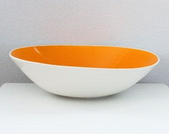 Handmade Serving Bowl Orange, Large Porcelain Wave Bowl in Orange, Tilt Pottery Bowl, Studio Pottery