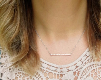 Trapeze Necklace Sterling Silver Layering Necklaces Hammered Line Pendant Horizontal Bar Twig Charm