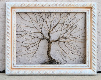 Original Unique Art Large Tree Abstract Sculpture ... Wire tree on vintage ornate shabby style salvaged white frame