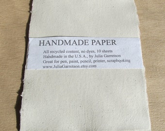 Beige Handmade Paper- made from eco friendly recycled Newsletters-Recycled Handmade Paper
