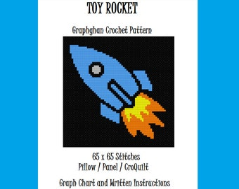 Toy Rocket - Graphghan Crochet Pattern - Pillow / Panel / CroQuilt