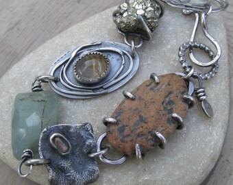 Chunky Silver Charm Bracelet Aquamarine Gemstone Bracelet Boho Silver Jewelry Pyrite Druzy Charm Bracelet Rustic Silver Jewelry Bracelet