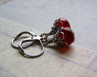 Garnet Red Earrings 9 x 6 mm Red Czech Glass Dangle Antique Silver Lever Back Ear Wire