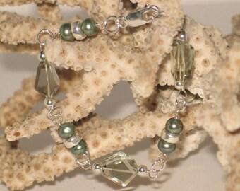 Green Amethyst, Pearl & Sterling Bracelet