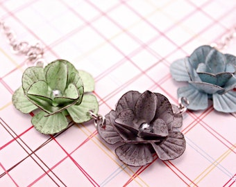 Pastel Metal Trio Flower Necklace on 16 Inch Silver Chain