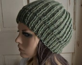 Knit Ribbed Hat Green Wool Slouch Hat
