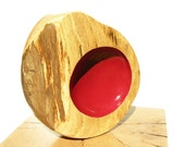Hand Turned Bowl, Red Bowl, Wooden Bowl, Painted Wood, Wood Art by Tracy Melton, Modern Home Design, Oak Wood Art, Modern Wood Art