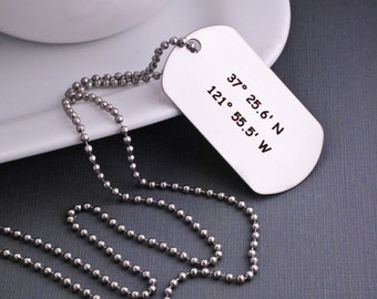 Custom Dog Tag Necklace, Father's Day Gift, Men's Latitude Longitude Jewelry, Custom GPS Coordinates Gift for Men, Husband Necklace Dog Tags