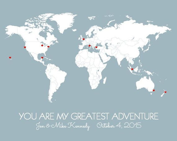 First anniversary gift for him world map poster husband like this item gumiabroncs Choice Image