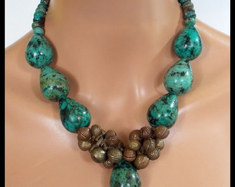 YORUBA BELLS - Handcast Old Yoruba Bells - Quality Turquoise 1 of a Kind Statement Necklace