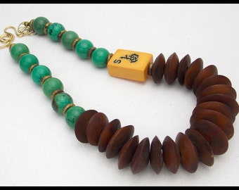 MAHJONG - Vintage Bakelite Mahjong Tile - Stunning Turquoise & African Bone Discs 1 of a Kind Necklace
