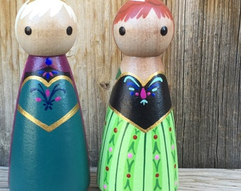 Frozen Coronation, Princess Anna, and Queen Elsa -  Pegbuddies Wood Peg Doll Peg People Frozen Birthday Cake Topper