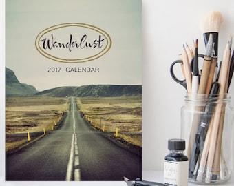 Wanderlust 2017 Calendar, 2017 Desk Calendar, Travel Photography, Stocking Stuffer, Traveller Gift Under 20, 5x7, Coworker Gift