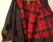 Men's Large Long Lightweight Woolrich Coat Grey Shell Red Wool Plaid Lining