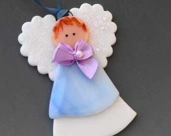 Blue Fused Glass Angel, Christmas Ornament, Communion Angel,  Stained Glass Angel Suncatcher, Baby Shower, Blue Angel Ornament, Package Tie