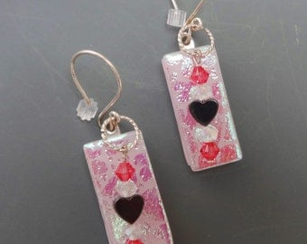 Pink Heart Earrings, Pink Glass Earrings, Fused Glass Earrings, Valentine Jewelry, Dichroic Fused Glass French Hook Earrings,