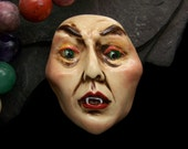 Vampire Lady Face Cab handmade polymer clay scary handpainted face Cabochon