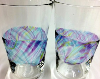 Hand Blown Art Glass Pint Glasses, Pastel Gingham Tumblers Barware Wedding Registry Gifts