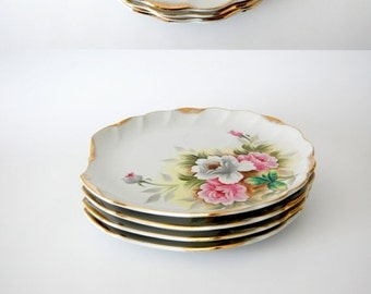 sale Vintage China Plates Handpainted Floral / Norcrest Fine China / Pink Dove Grey Green Yellow / Set of 4 / Lux Decor Scalloped Gold Trim