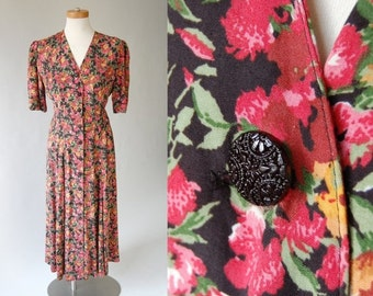 sale vintage rayon dress / long midi dress / colorful black floral print / Fit Flare / Button Front / Express made in USA / s m 80s does 40s