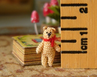 Muffa's - Micro Miniature Crochet Bear in a Storybook
