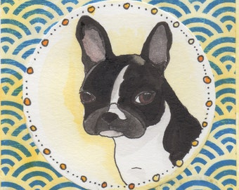 Boston Terrier Art Gift, Funny Watercolor Painting, Dog Lover Gifts For Men, Gifts Under 30 For Him, Cubicle Art Gift, Boston Terrier Funny