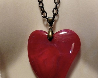 Sacred Heart Steampunk Candy Apple Red Huge Natural Stone Heart Pendant Necklace Long Gun Metal Chain