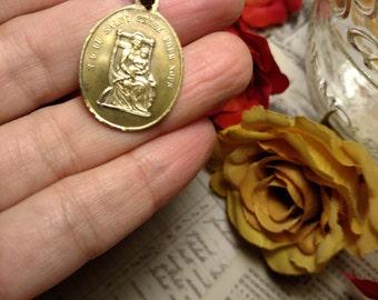 Old Rustic Antique Brass Angel Religious Medal Pendant Souvenir Du Le Puy Notre Dame French France Notre Dame Salut