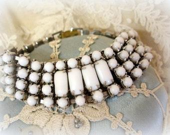vintage white milk glass bracelet rhinestone chain prong set with white milk glass fixed length