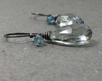 Green Amethyst Earrings Apatite Earrings Aqua Blue Earrings Prasiolite Briolette Earrings Oxidized Sterling Silver Earrings