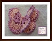 Crocheted Butterfly Applique, Hair Accessory, Double, Pink, Rose