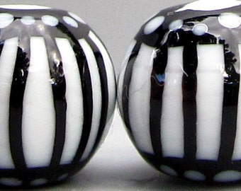 Mini Black & White Color Cages--Handmade Lampwork Beads