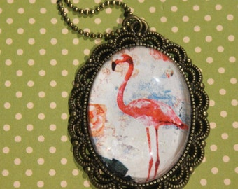 Fabulous flamingo filigree cabochon pendant necklace