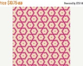 SALE Pink Orange Hexagon Geometric Cotton Fabric - Modern Quilting Sewing - Notting Hill Collection - cotton Fabric by the yard