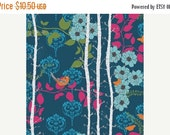 SALE Birds and Trees Fabric - Blue Pink Orange Cotton Fabric - Valorie Wells Nouvella Collection - cotton Fabric by the yard
