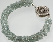 Moss Aqumarine Bangle Style Silver Bracelet