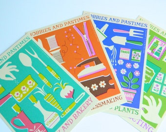 Retro Hobbies and Pastimes 4 x Postcard Set