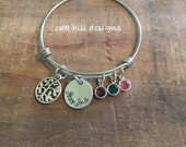 Family tree bracelet-grandma bracelet-Alex and Ani style birthstone bangle bracelet