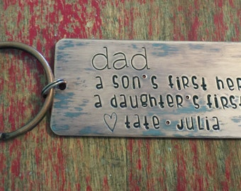 Fathers day gift-stamped Dad keychain-personalized custom dad keychain-fathers day gift-gift for dad