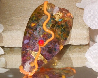 Handmade Lampwork Glass Focal Purple Green Tab- Bastets Beads SRA- Summer Garden