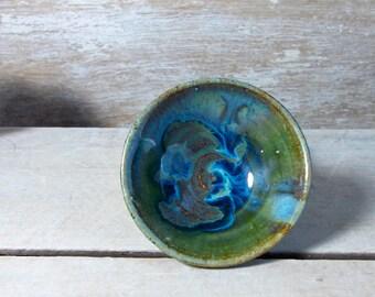 Raindrop Pot, Tiny Stoneware Bowl, Dark Green, Indigo and Light Blue, Handmade Stoneware, Little Pottery Bowl, Ritual, Prep, Ready to Ship