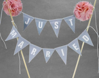 Wedding Cake Topper, Pennants, Blush & Gray