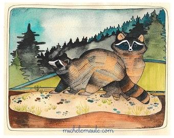 Raccoon Art Print - Raccoon Illustration - 8x10 Art Print - Animal Illustration - Raccoon Artwork - Wall Art - Home Decor - Two Raccoons