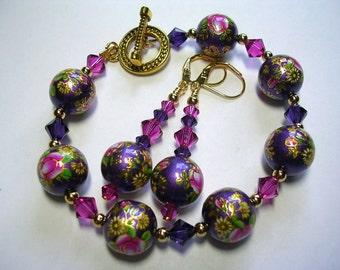 Purple Bracelet Swarovski Crystal Earrings Painted Floral Bracelet Gold Earrings Leverback Hooks Toggle Bracelet Fuchsia Bracelet Earrings