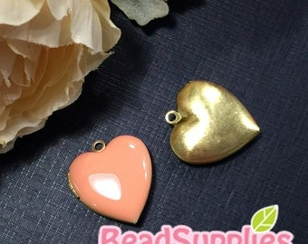 CH-EX-08055PH - Nickel Free, Heart-shaped locket,peach, 2pcs