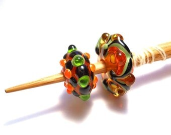 Bead spindle, Orange & green Handmade glass whorl, medieval style oak supported spindle, one whorl, pair, or full set, light weight spinning