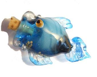 Blue glass fish vessel, lampwork bottle necklace, amphora amulet, wearable handmade lamp work glass bottle, fish amphora pendant, SRAJD