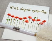 Watercolor Poppies Printed Sympathy Card with envelope