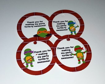Ninja Turtle theme thank you tags, favor tags, gift tags - set of 24