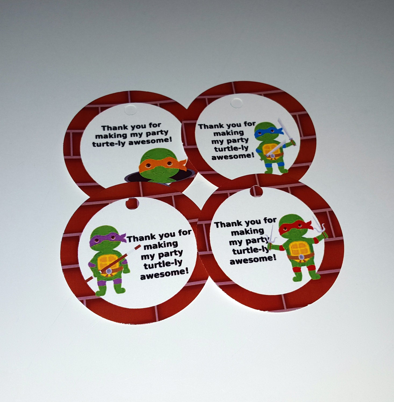 Ninja Turtle theme thank you tags favor tags gift tags set - photo#21